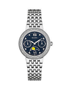 Bulova Women's Stainless Steel Moon Phase Dial with Diamonds Watch