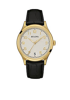 Bulova Men's Yellow Gold Plated Leather Band Watch