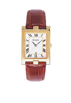 Bulova Men's Leather Strap Classic Watch