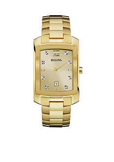 Bulova Men's Diamond Dial Gold-Tone Stainless Steel Watch