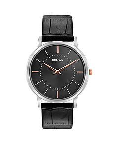 Bulova Men's Classic Black Leather Watch