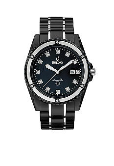 Bulova Stainless Steel with Black Mother of Pearl Diamond Watch