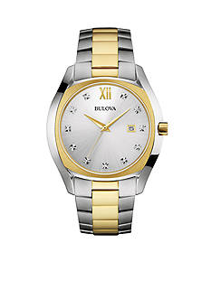 Bulova Men's Two Tone Stainless Steel Diamond Watch