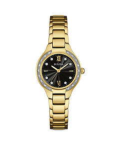 Bulova Women's Gold-Tone Crystal Bezel Watch