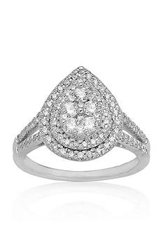 Belk & Co. Diamond Pear Shaped Ring in 10k White Gold
