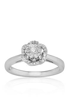 Belk & Co. Diamond Floral Ring in Sterling Silver