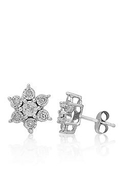 Belk & Co. Diamond Flower Earrings in 10k White Gold