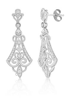 Belk & Co. Diamond Vintage Earrings in Sterling Silver