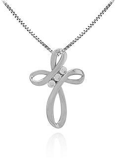 Belk & Co. Diamond Cross Pendant in Sterling Silver