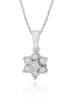 Belk & Co. Diamond Flower Pendant in 10k White Gold