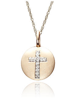 Belk & Co. Diamond Cross Disc Pendant in 10k Gold