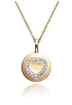 Belk & Co. Diamond Heart Disc Pendant in 10k Gold
