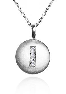 Belk & Co. 14 Kt White Gold 0.02 CT.T.W Diamond Accent I Disc Pendant Necklace