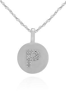 Belk & Co. Diamond Accent P Pendant in 14k White Gold