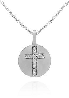 Belk & Co. Diamond Accent Cross Pendant in 14k White Gold