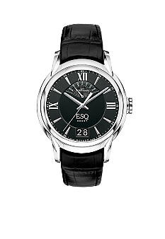 ESQ Movado Mens Retrograde Stainless Steel Black Leather Strap Watch