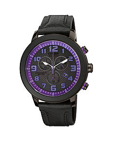 Citizen Eco-Drive Unisex BRT Black IP Chronograph Strap with Purple Accented Dial Watch