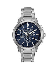 Citizen Men's Eco-Drive Titanium and Ion-Plating Blue Dial Watch