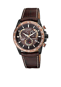 Citizen Eco-Drive Men's Perpetual Chrono A-T Leather Strap Watch