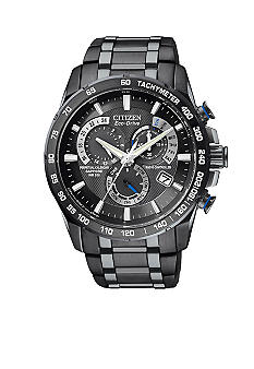 Citizen Eco-Drive Black Ion Plated World Perpetual Chrono AT