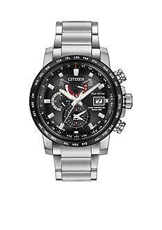 Men's Citizen Eco-Drive World Time At The Black Dial Watch