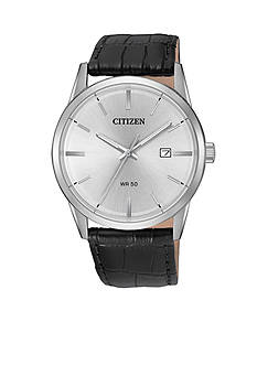 Citizen Men's Black Leather Strap Quartz Watch