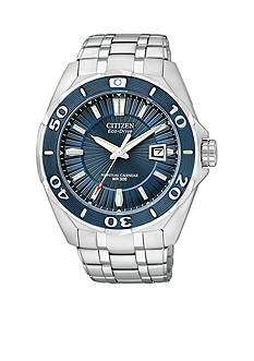 Citizen Men's Eco-Drive Signature Blue Ion Plated Bezel Watch