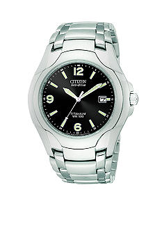 Citizen Men's Eco Drive Titanium Bracelet Black Dial with Date