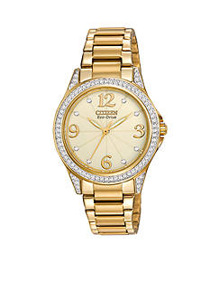 Citizen Eco-Drive Women's Gold Tone Stainless Steel with Swarovski Crystal Watch