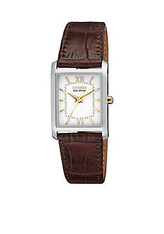Citizen Eco-Drive Women's Pairs Leather Strap Watch