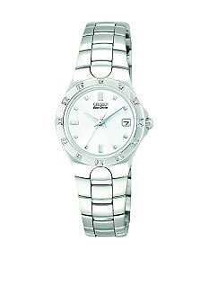 Citizen Ladies Eco Drive Corso Stainless Steel Bracelet with 12 Diamond Bezel