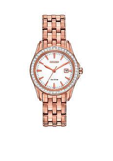 Citizen Women's Eco-Drive Pink Gold Tone Stainless Steel Swarovski Watch