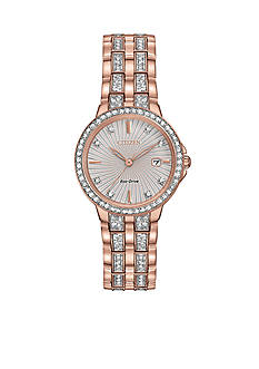Citizen Women's Rose Gold-Tone Silhouette Crystal Watch