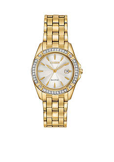 Citizen Women's Eco-Drive Silhouette Crystal with Champagne Dial set in Gold-Tone Watch