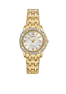 Citizen Women's Eco-Drive Gold-Tone Silver Dial with Diamond Accents Watch