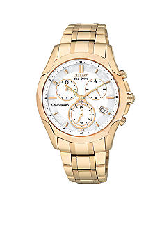Citizen Eco-Drive Rose Gold Tone Chronograph Watch