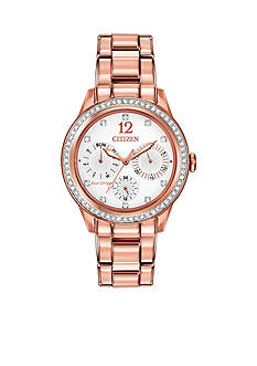 Citizen Women's Eco-Drive Pink Gold-Tone Stainless Steel Swarovski Watch