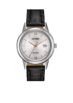 Citizen Eco-Drive Women's Black Leather Strap Watch
