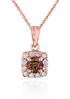Belk & Co. Brown and White Diamond Pendant in 14k Rose Gold
