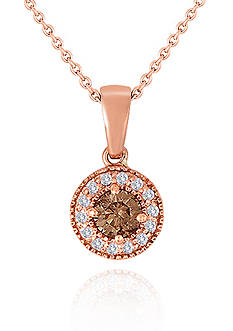 Belk & Co. Brown and White Diamond Pendant in 14k Rose Gold