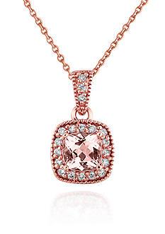 Belk & Co. 14k Rose Gold Morganite and Diamond Pendant