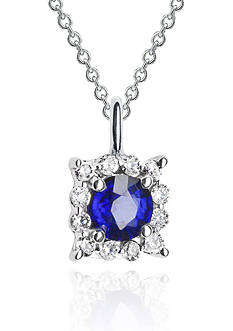Belk & Co. 14k White Gold Sapphire and Diamond Pendant