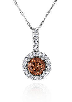 Belk & Co. Brown and White Diamond Pendant in 14k White Gold