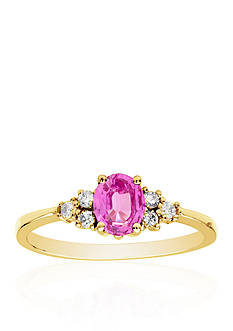 Belk & Co. 14k Yellow Gold Pink Sapphire and Diamond Ring