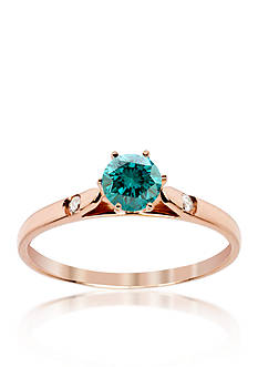 Belk & Co. Blue and White Diamond Ring in 14k Rose Gold