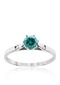 Belk & Co. Blue and White Diamond Ring in 14k White Gold