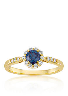 Belk & Co. Blue and White Diamond Ring in 14k Yellow Gold