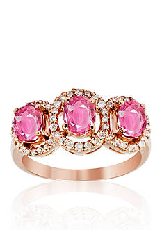 Belk & Co. 14k Rose Gold Pink Sapphire and Diamond Ring