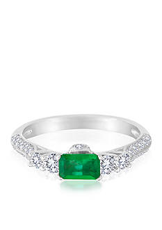 Belk & Co. 14k White Gold Emerald and Diamond Ring