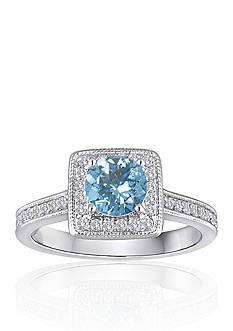 Belk & Co. 14k White Gold Aquamarine and Diamond Ring